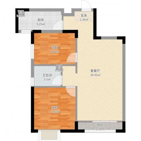 禹州尊府2室2厅1卫1厨78.00㎡户型图