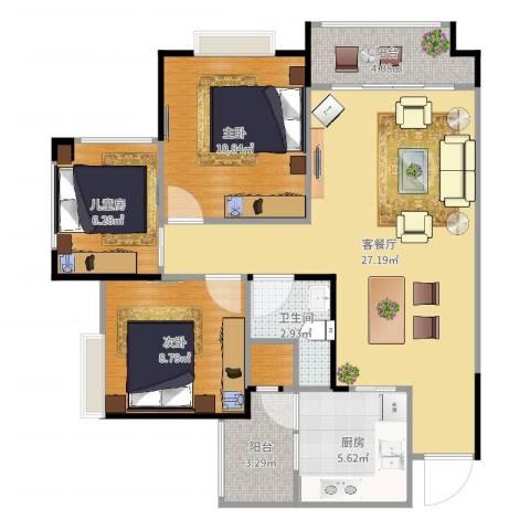 港九・香山屿3室2厅1卫1厨87.00㎡户型图
