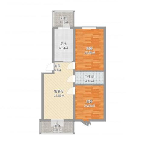 阳光育博苑2室2厅1卫1厨77.00㎡户型图