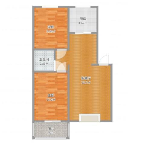 山海新城2室2厅1卫1厨69.00㎡户型图