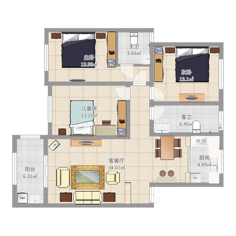 中鹤国际-简欧-137平方-三居室