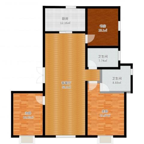 绿地波士顿公馆3室2厅2卫1厨173.00㎡户型图