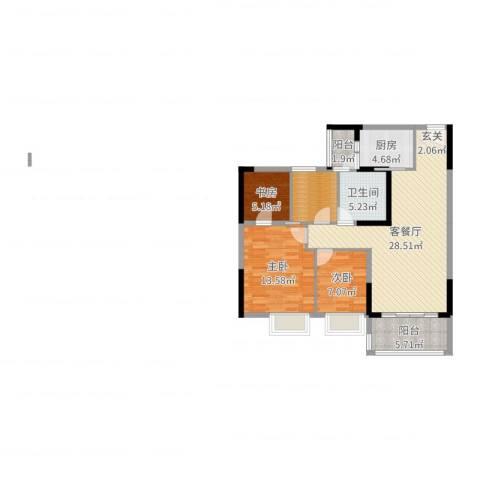 碧桂园山河城3室2厅1卫1厨96.00㎡户型图