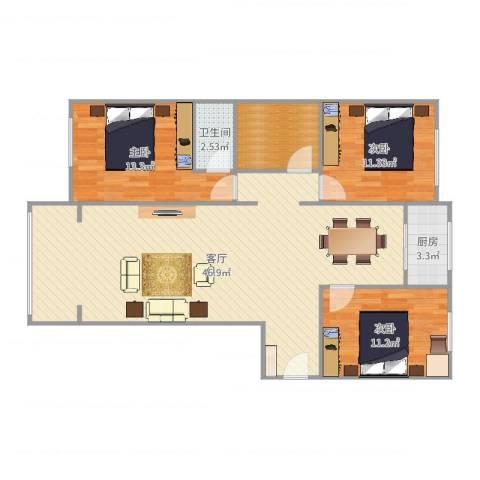 塔冢裕园3室1厅1卫1厨118.00㎡户型图