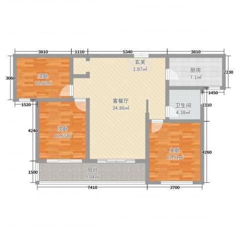 蓝柏湾3室2厅1卫1厨115.00㎡户型图
