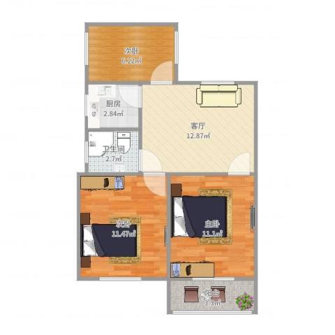 万寿新村五区3室1厅1卫1厨63.00㎡户型图