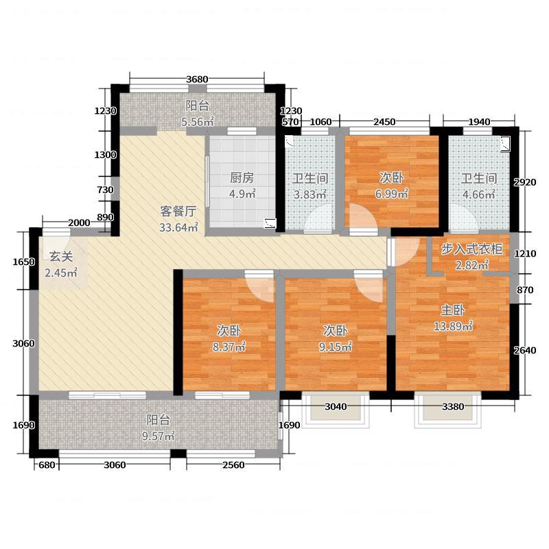 世茂新界119.00㎡A4户型3室3厅3卫1厨