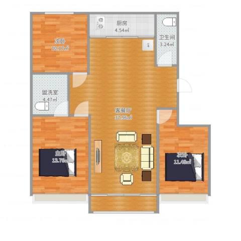 银河御府3室4厅1卫1厨111.00㎡户型图