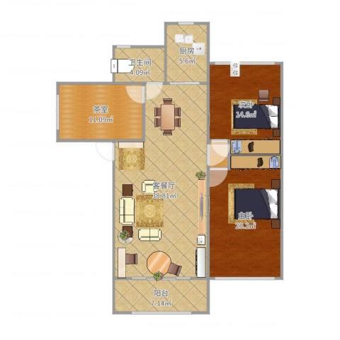 浦发绿城2室2厅1卫1厨128.00㎡户型图