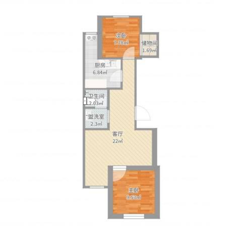 韩庄子西里2室3厅1卫1厨65.00㎡户型图