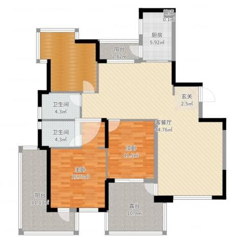 红豆美墅2室2厅2卫1厨156.00㎡户型图