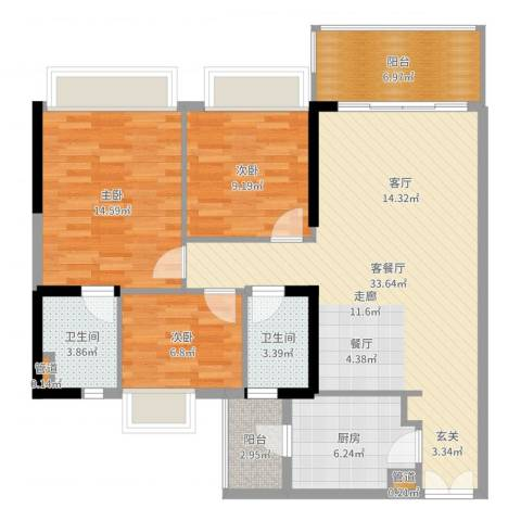 天荟公馆3室2厅2卫1厨110.00㎡户型图