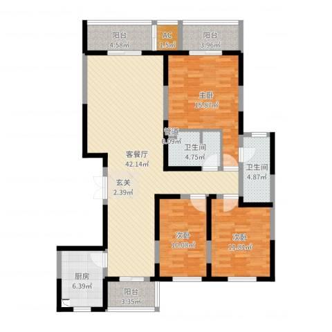 滨河湾城市花园3室2厅2卫1厨137.00㎡户型图