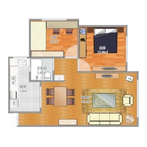 建德花园百合苑2室2厅1卫1厨80.00㎡户型图