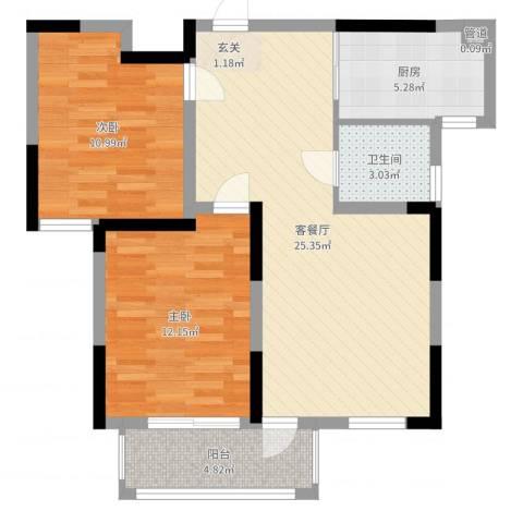 建德花园百合苑2室2厅1卫1厨77.00㎡户型图
