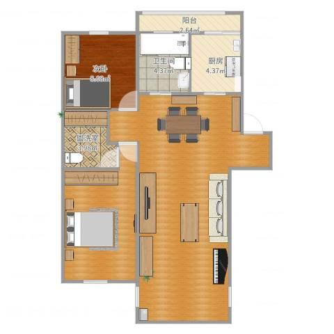 建德花园百合苑1室2厅1卫1厨89.00㎡户型图