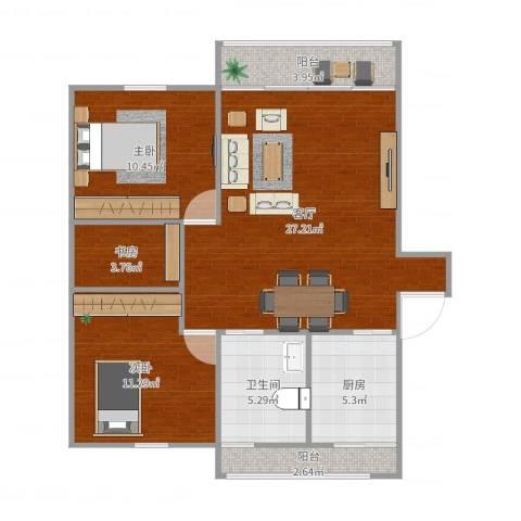 建德花园百合苑3室1厅1卫1厨87.00㎡户型图