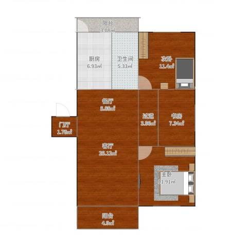 建德花园百合苑3室1厅1卫1厨102.00㎡户型图