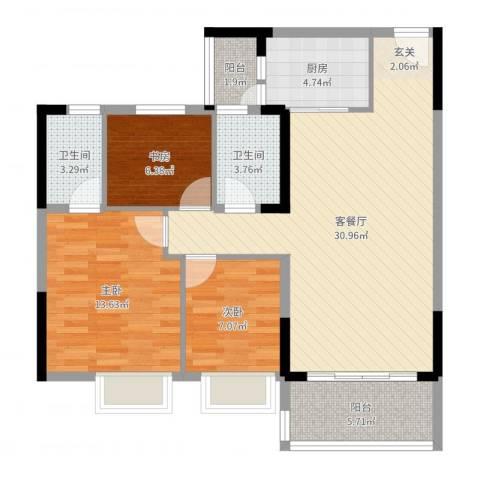 碧桂园山河城3室2厅2卫1厨97.00㎡户型图