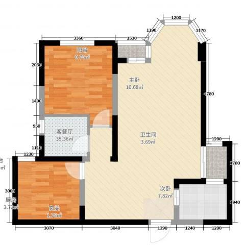 珠江新城2室2厅1卫1厨90.00㎡户型图