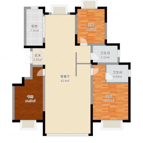 康和西岸3室2厅2卫1厨156.00㎡户型图