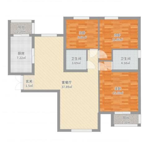 文鼎轩3室2厅2卫1厨117.00㎡户型图