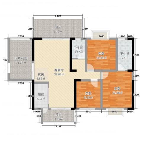万和乐华花园3室2厅2卫1厨128.00㎡户型图