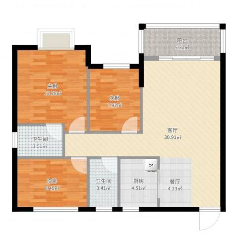 银汇华庭3室1厅2卫1厨97.00㎡户型图
