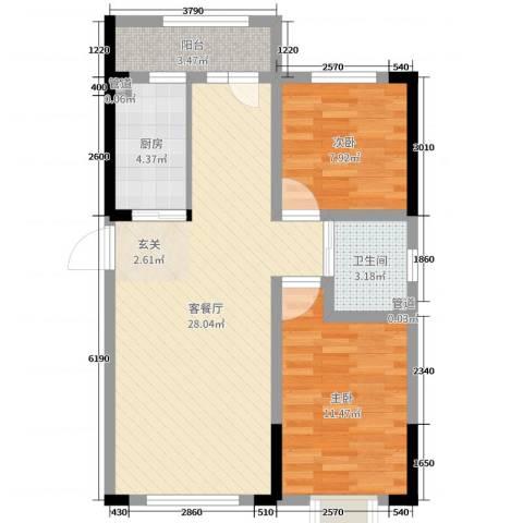 新星宇和源二期塞纳2室2厅1卫1厨87.00㎡户型图