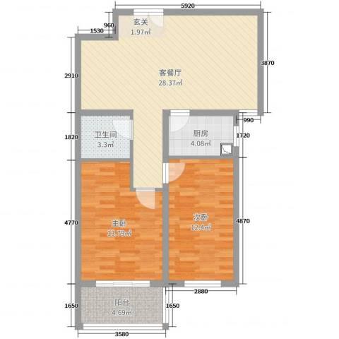 兆通华苑2室2厅1卫1厨86.00㎡户型图
