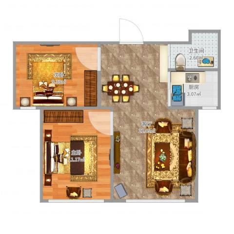 上台花园2室1厅1卫1厨72.00㎡户型图