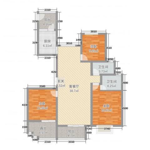 暨阳玫瑰城三期3室2厅2卫1厨140.00㎡户型图