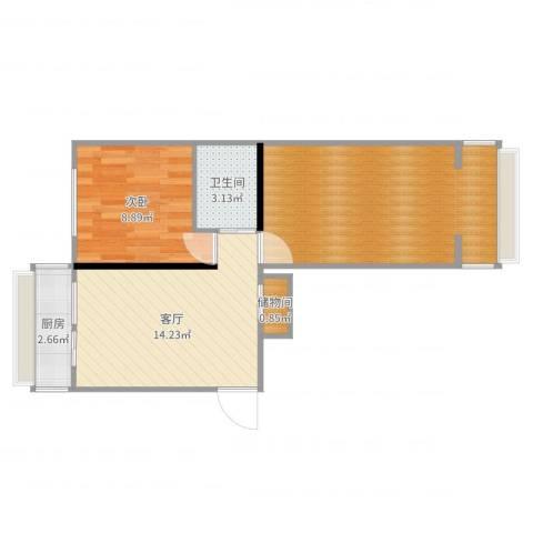 团结湖路小区1室1厅1卫1厨59.00㎡户型图
