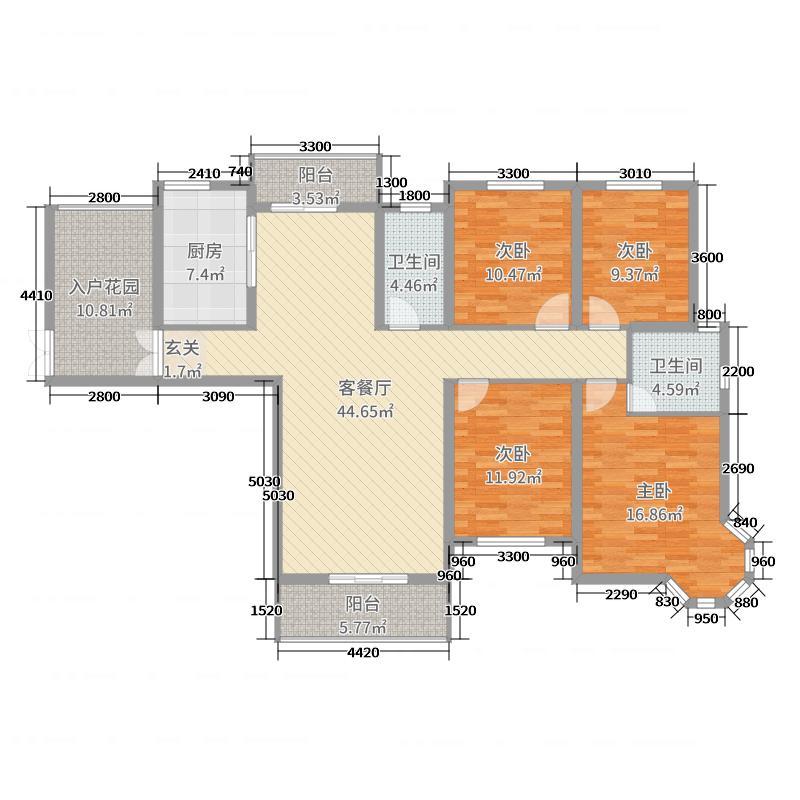 暨阳玫瑰城三期165.00㎡K户型4室4厅2卫1厨