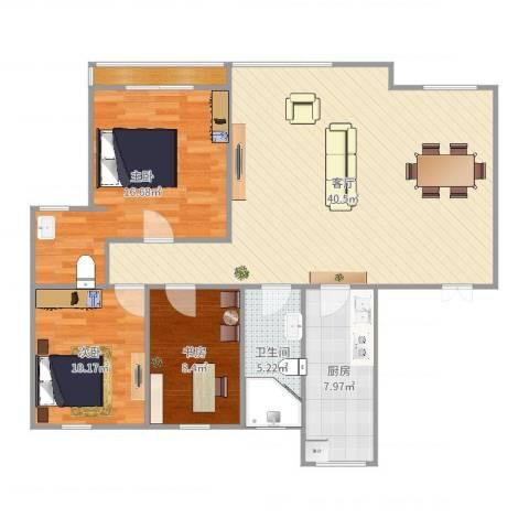 城市枫景3室1厅1卫1厨90.63㎡户型图