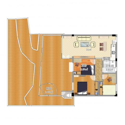 洛涛居北区1室1厅2卫1厨229.00㎡户型图
