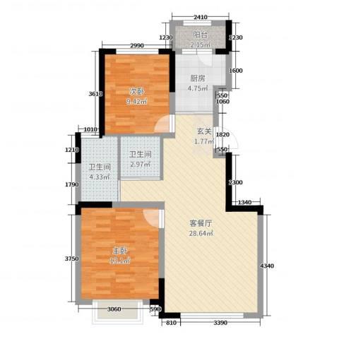 新星宇和源二期塞纳2室2厅2卫1厨96.00㎡户型图