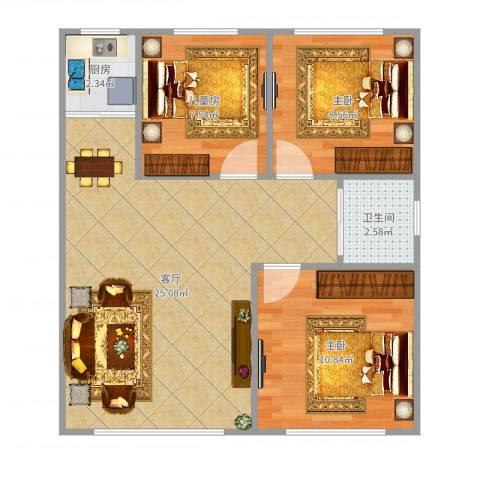 上台花园D13室1厅1卫1厨98.00㎡户型图