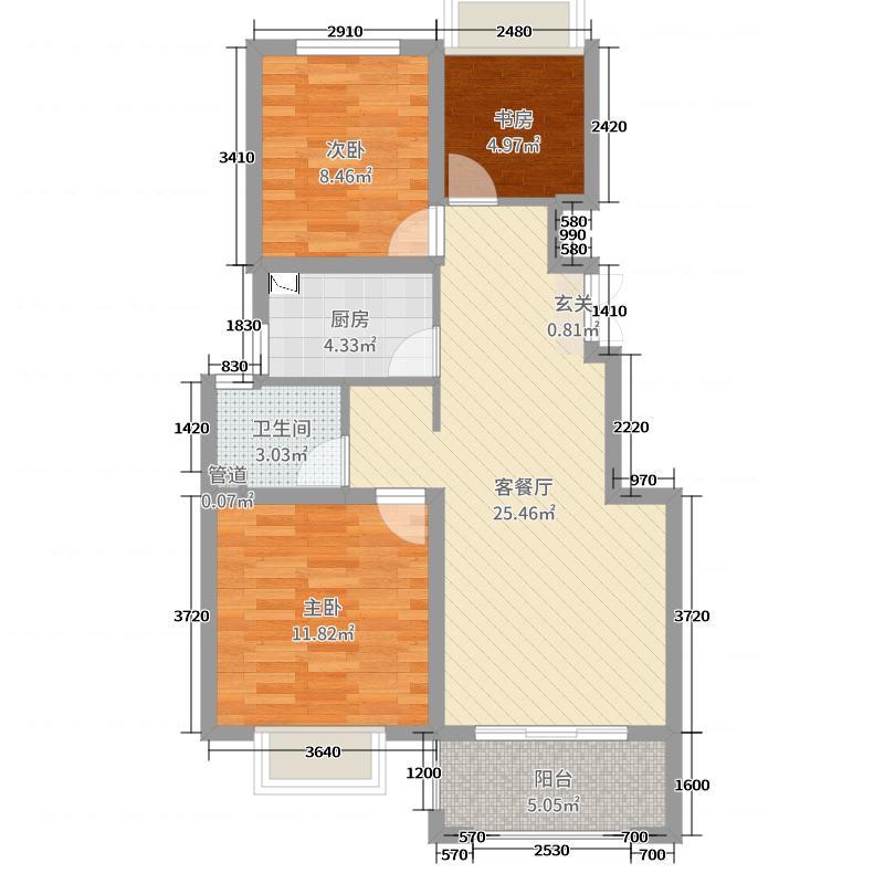 中南山锦花城项目79.00㎡一期1#标准层户型3室3厅1卫1厨