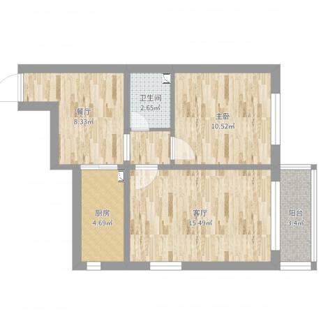 青云南区塔2号楼1室2厅1卫1厨58.00㎡户型图