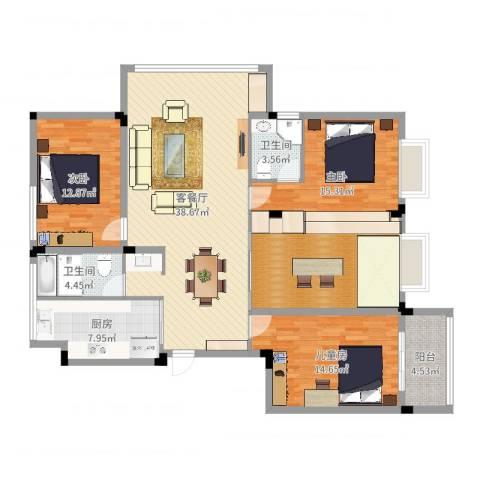格林春天・野花园二期3室2厅2卫1厨144.00㎡户型图