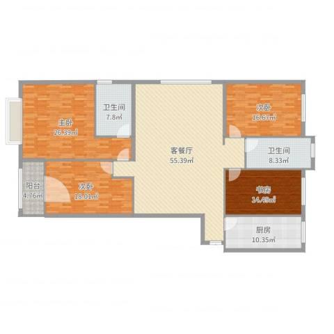 柏悦公馆4室2厅2卫1厨203.00㎡户型图