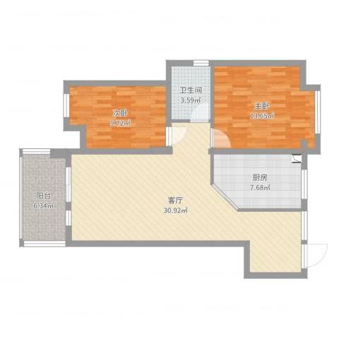 玉屏府40-2-13052室1厅1卫1厨90.00㎡户型图