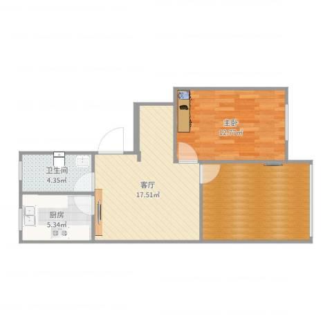 华灵路881弄小区1室1厅1卫1厨67.00㎡户型图