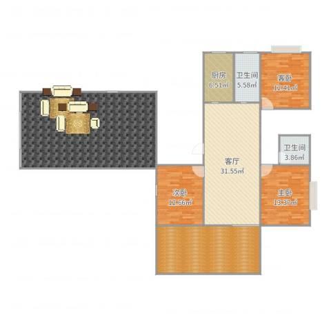 富丽名苑3室1厅2卫1厨195.00㎡户型图