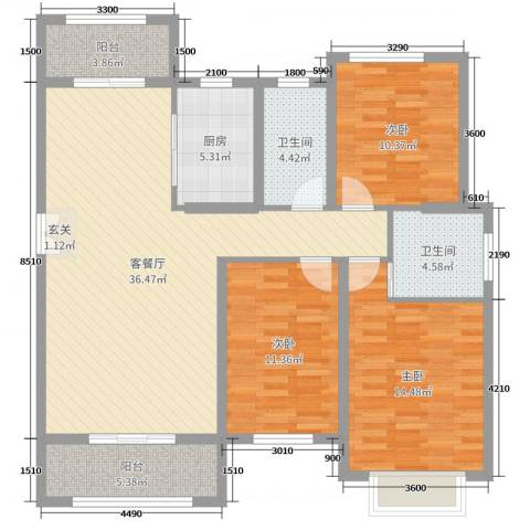 暨阳玫瑰城三期3室2厅2卫1厨130.00㎡户型图