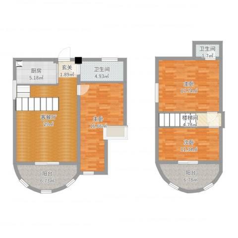 印象欧洲3室2厅2卫1厨131.00㎡户型图
