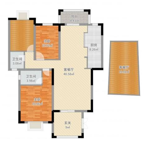 东江学府二期2室4厅2卫1厨158.00㎡户型图