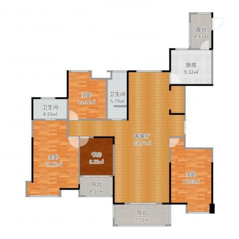 中央香榭4室2厅2卫1厨181.00㎡户型图