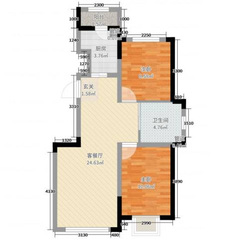 新星宇和源二期塞纳2室2厅1卫1厨84.00㎡户型图